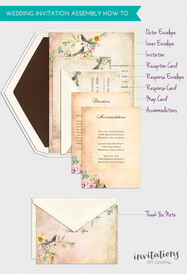Assembling wedding invitations invitations by dawn for Order in wedding invitation envelope