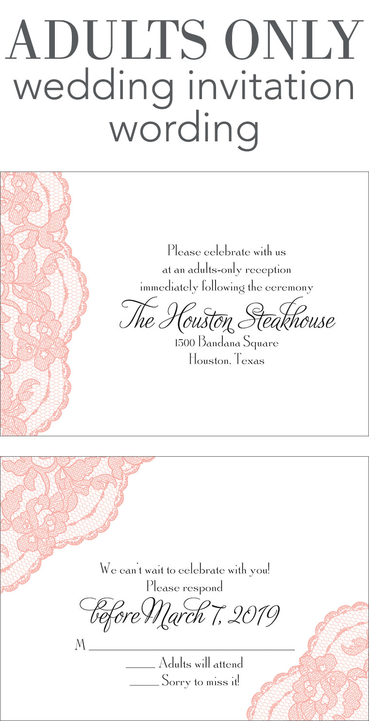 Adults Only Wedding Invitation Wording | Invitations by Dawn