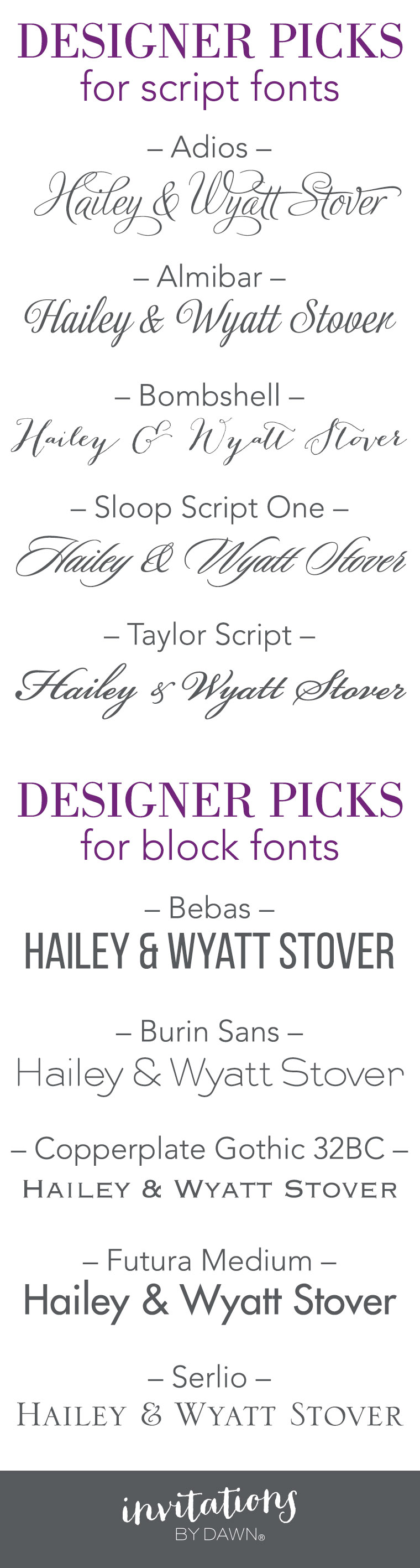 Designer Picks for Script and Block Fonts