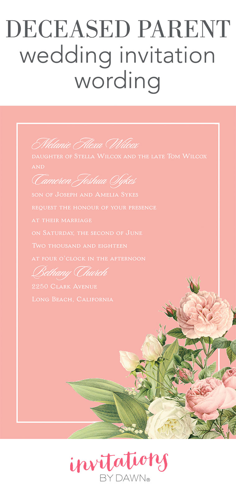 Deceased Parent Wedding Invitation Wording Invitations