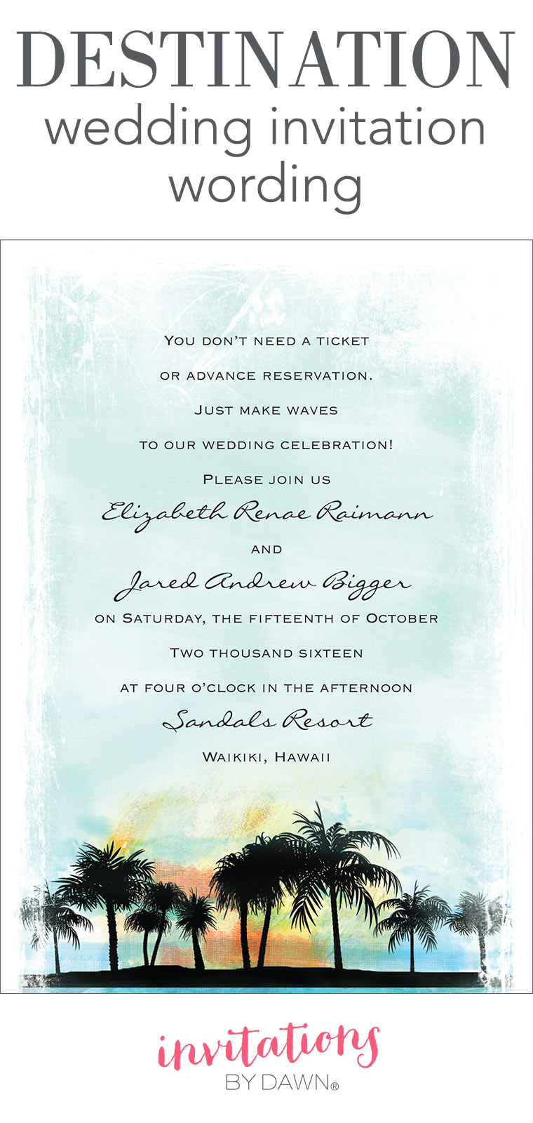 Destination wedding invitation wording invitations by dawn stopboris Choice Image