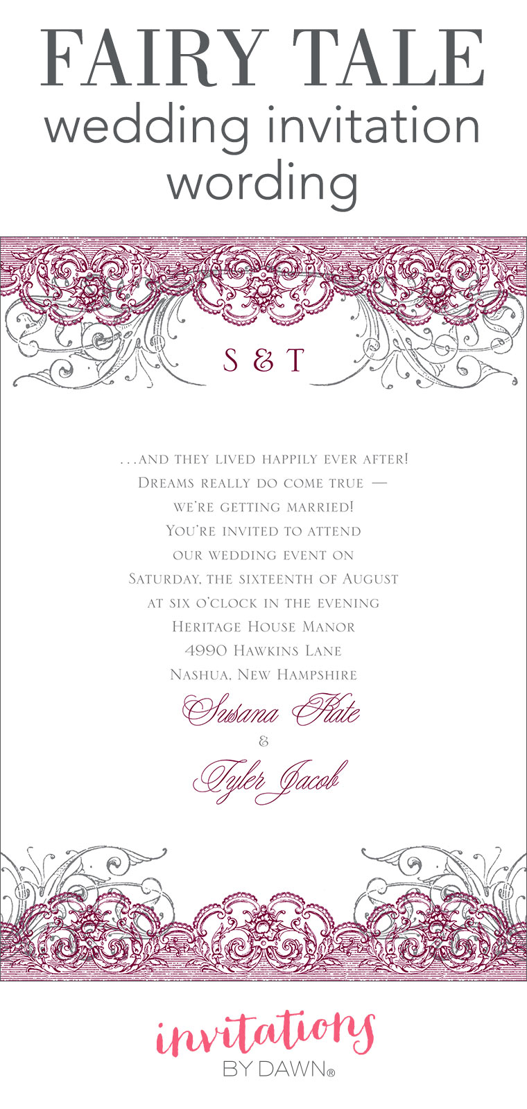 Fairy tale wedding invitation wording invitations by dawn stopboris