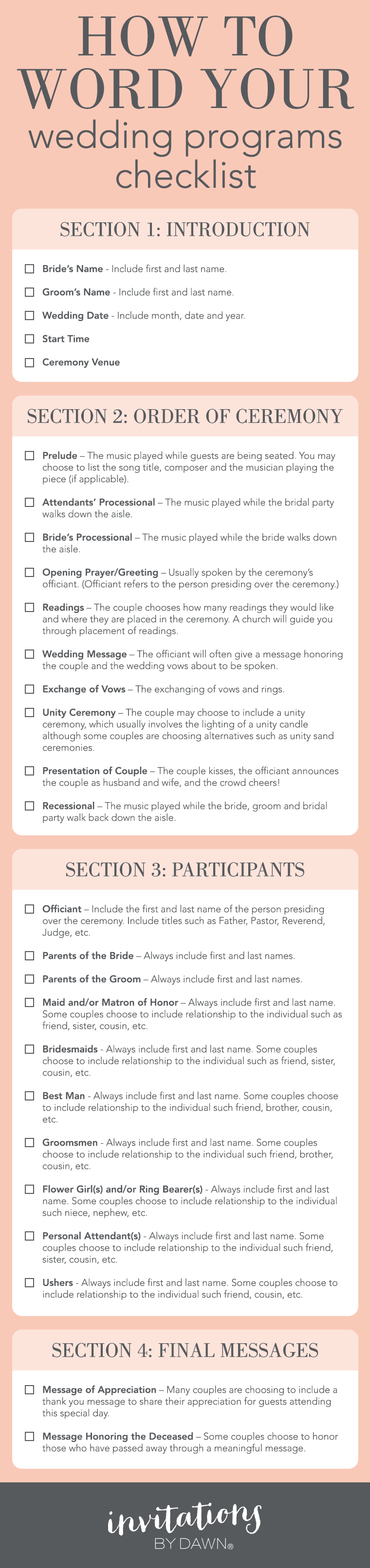 Wedding Program Checklist