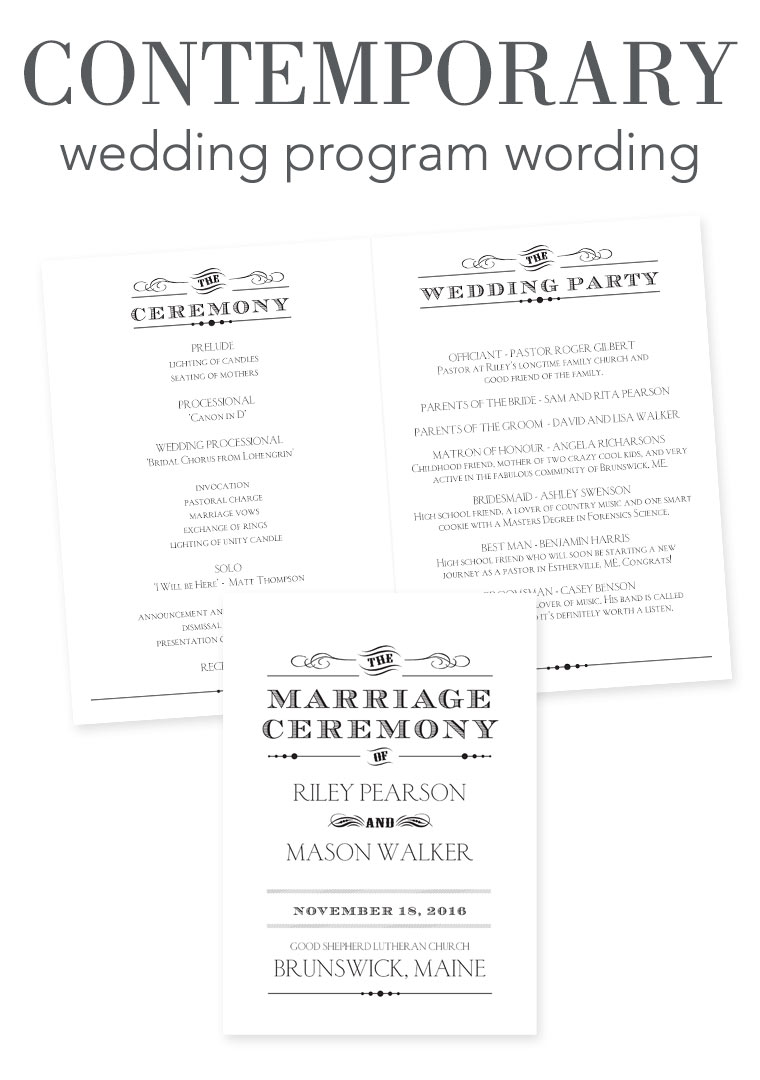Wedding Program Wording - Contemporary