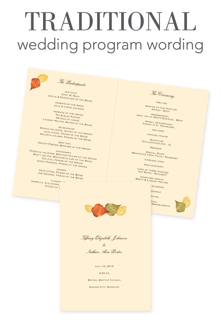 wedding program wording examples