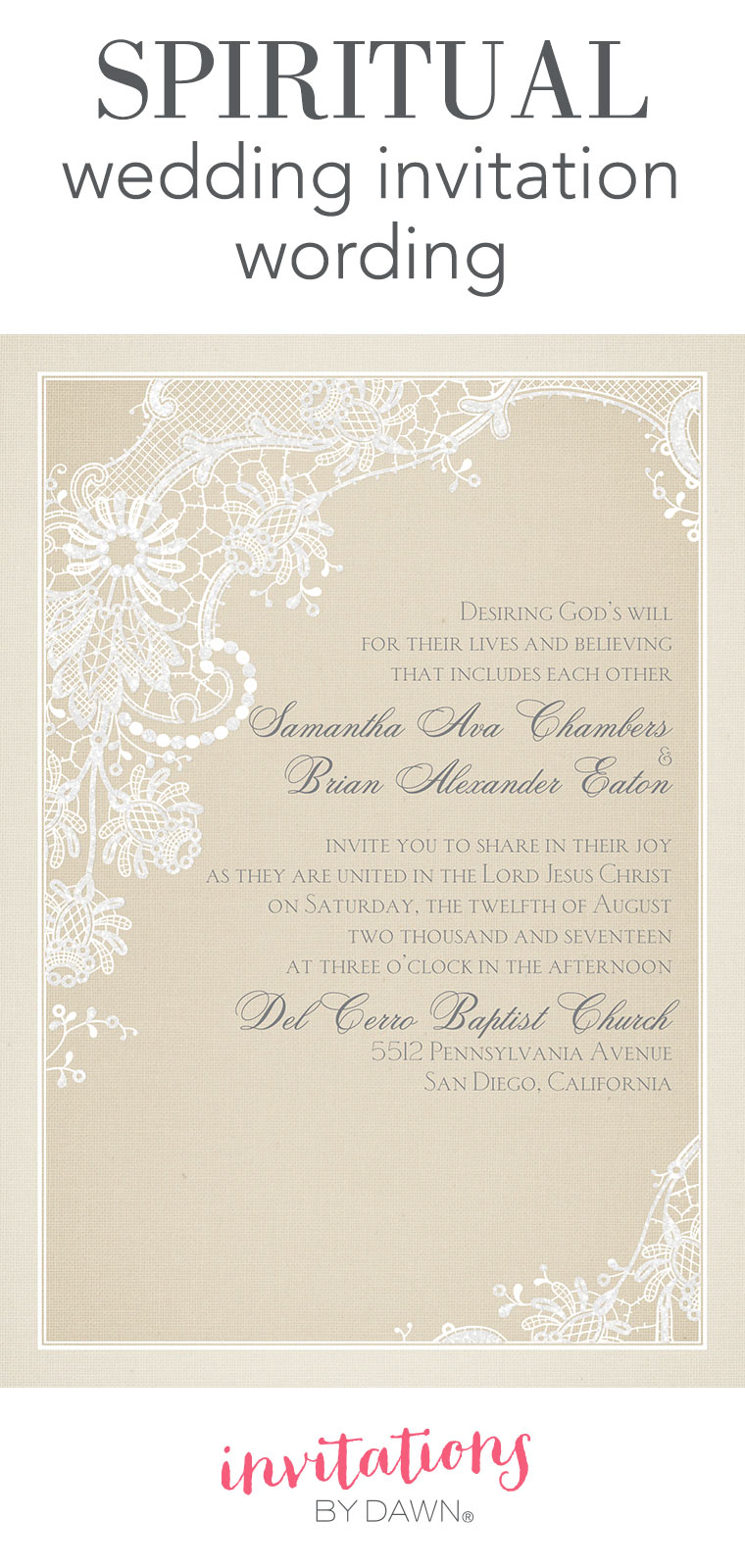 Spiritual Wedding Invitation Wording | Invitations by Dawn