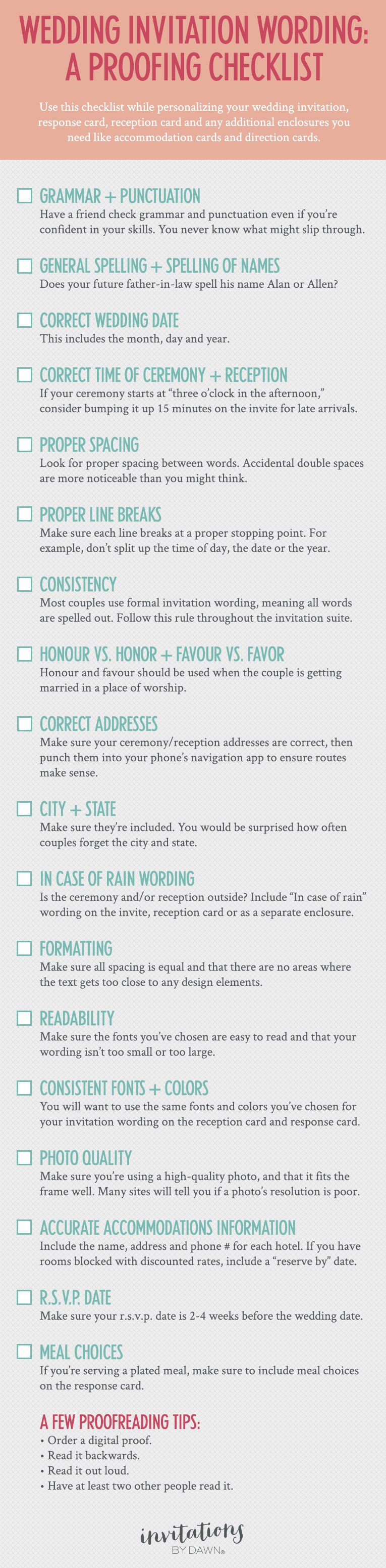A Proofing Checklist For Wedding Invitations Invitations By Dawn