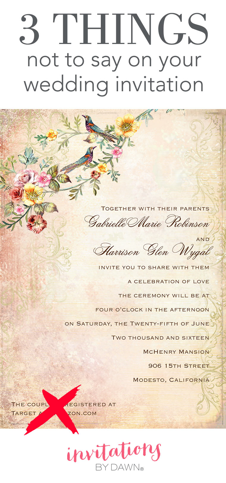 3 Things Not to Say on Your Wedding Invitations | Invitations by Dawn