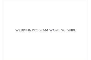 Program Wording Guide
