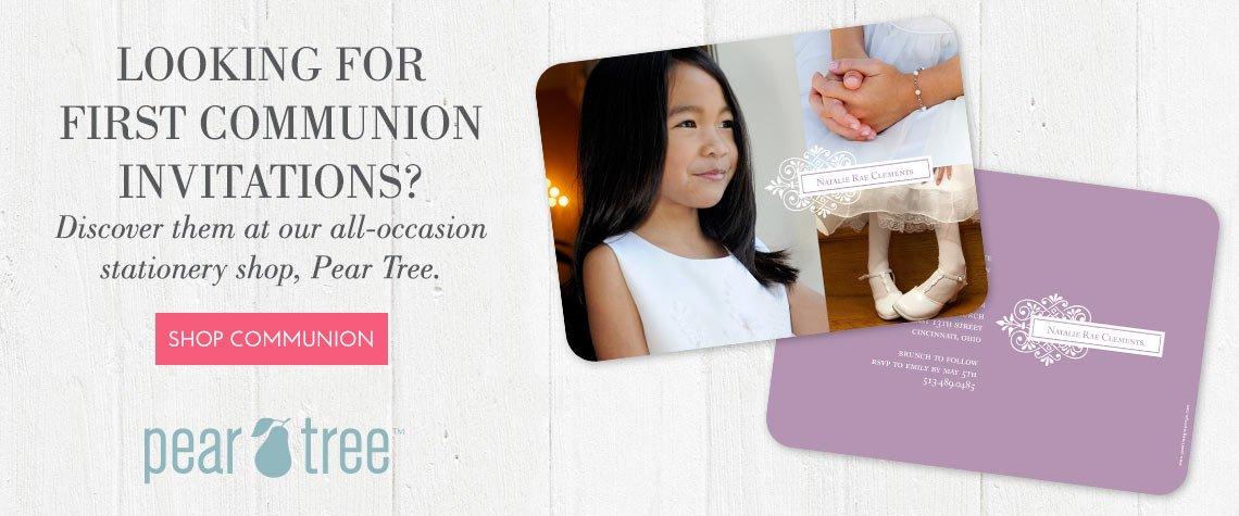Pear Tree First Communion Invitations