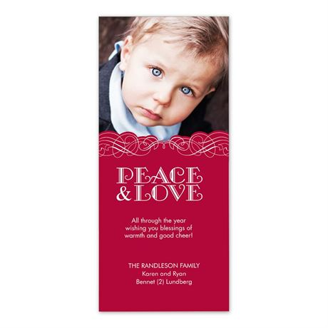 Peace and Love Photo Holiday Card Tea Length