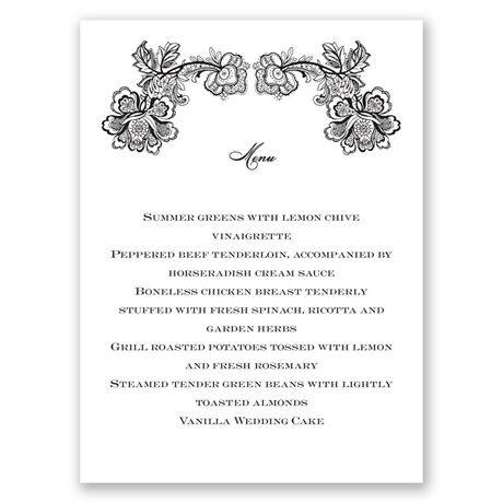 Lacy Whisper Menu Card
