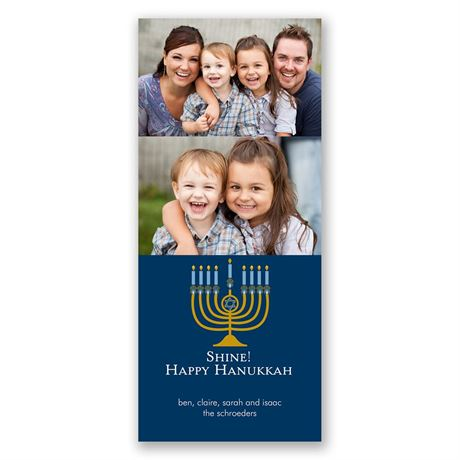 Hanukkah Shine Photo Holiday Card