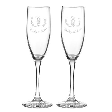 Lucky In Love Toasting Flutes