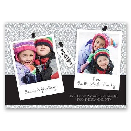 Snapshots - Black Photo Holiday Card
