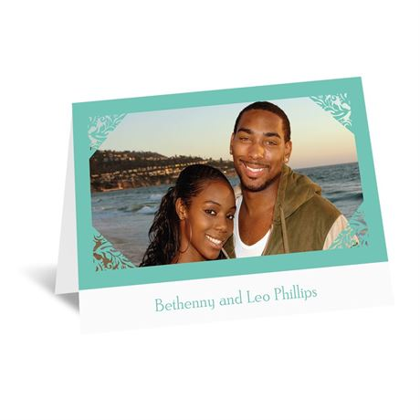 Damask Corners - Aqua Thank You Card and Envelope