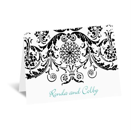Vintage Damask - Black - Thank You Card and Envelope