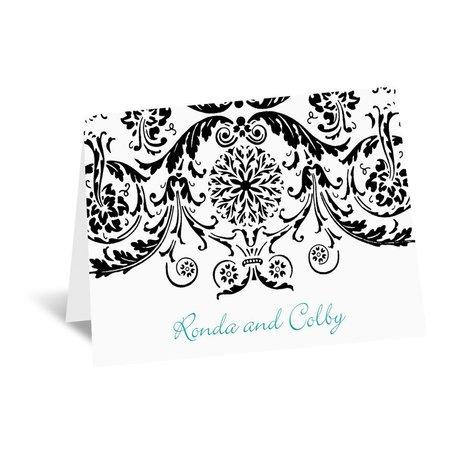 Vintage Damask - Black - Thank You Card and Envelope