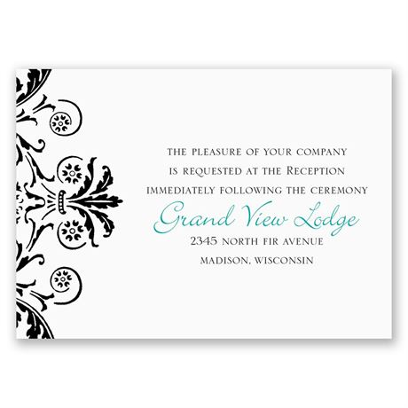 Vintage Damask - Black - Reception Card