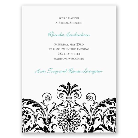 Vintage Damask - Black - Petite Bridal Shower Invitation