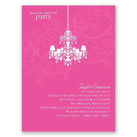 Chandelier Swirl - Pink - Bachelorette Party Invitation
