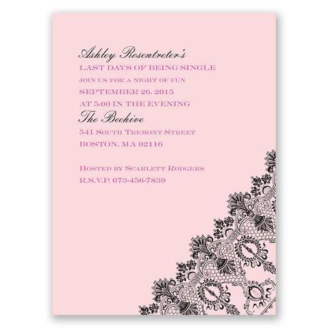 Romantic Lace - Pink - Bachelorette Party Invitation