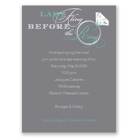 Last Fling - Aqua - Bachelorette Party Invitation