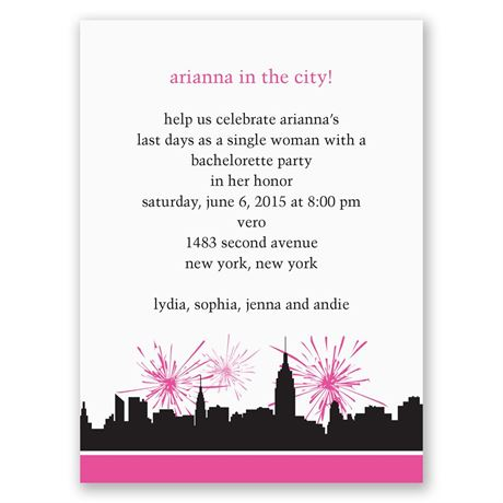 City Girl - Pink - Bachelorette Party Invitation