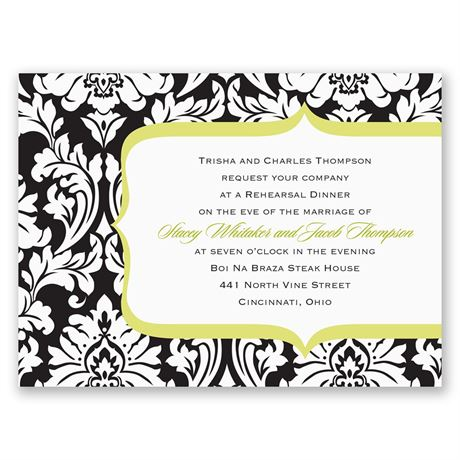Damask Crest- Green - Petite Rehearsal Dinner Invitation