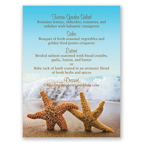 Starfish Menu Card