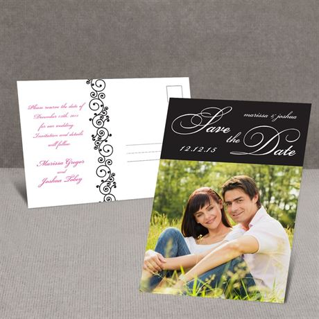 Scripted - Black - Save the Date Postcard