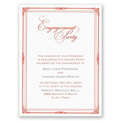 Classic Frame Petite Engagement Party Invitation