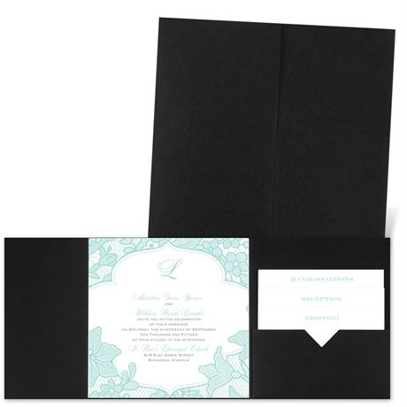 Lavish Lace - Black - Pocket Invitation