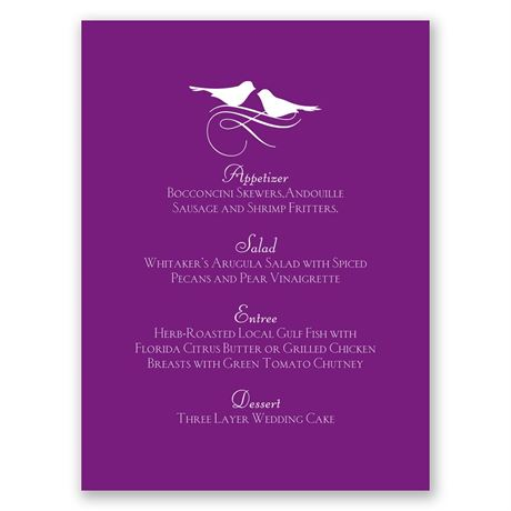 Pretty Birds Menu Card