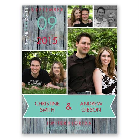 Rustic Banner Save the Date Card