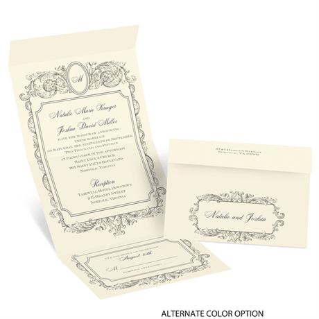 Posh Frame - Ecru - Seal and Send Invitation