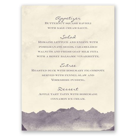 Mountain Mist - Ecru - Menu Card