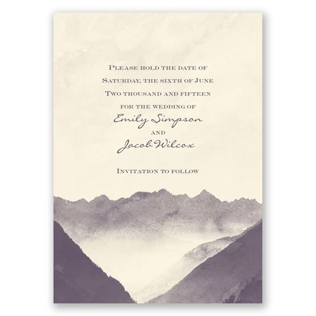 Mountain Mist - Ecru - Save the Date Card