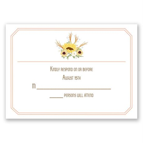 Country Sunflowers - Corabell - Response Card and Envelope