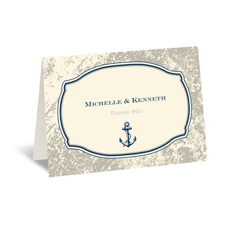 Vintage Nautical - Ecru - Thank You Card and Envelope