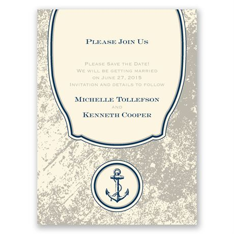 Vintage Nautical - Ecru - Save the Date Card