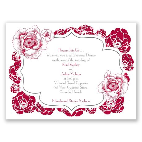 Pretty Flowers Petite Rehearsal Dinner Invitation