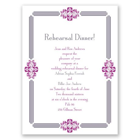 Bling Border Petite Rehearsal Dinner Invitation