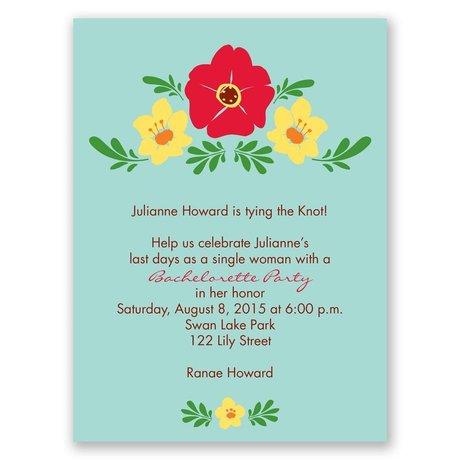 Blooming Vintage - Aqua - Bachelorette Party Invitation