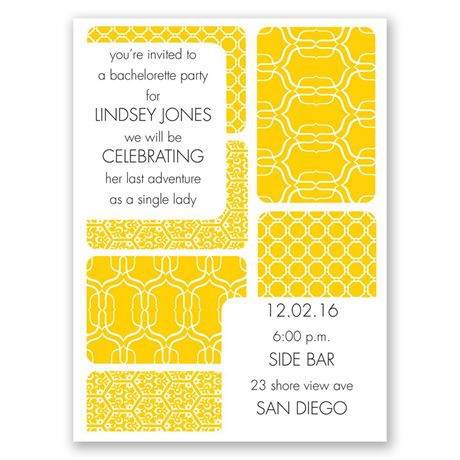 Bold Patterns Bachelorette Party Invitation