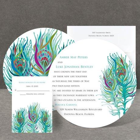 Nouveau Peacock Invitation