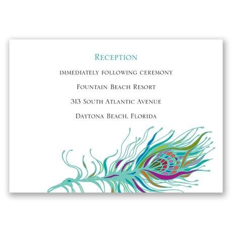 Nouveau Peacock Reception Card
