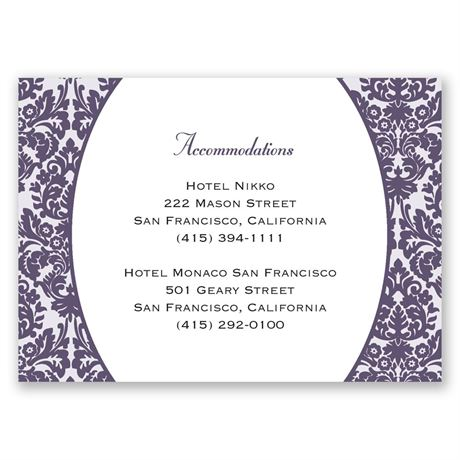 Damask Borders Accommodations Card