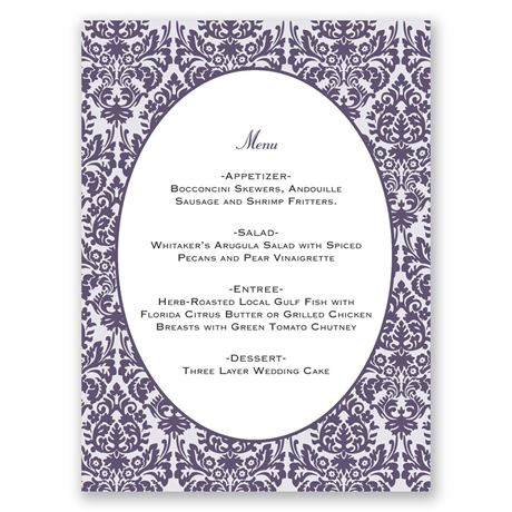 Damask Borders Menu Card