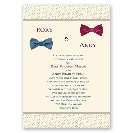 Bow Ties - Ecru - Invitation